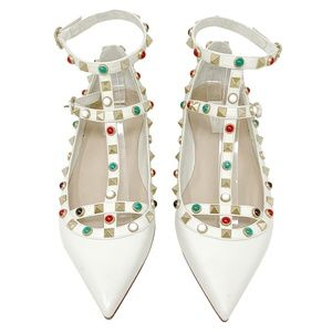 Valentino Rolling Rockstud Pointed Flats